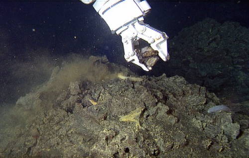 ROV manipulator arm collecting lava flow sample