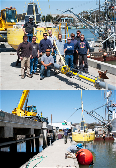 In these 2013 photos, a team of MBARI engineers prepared the power buoy for deployment. The deployment went well overall, but after 25 days, the system failed due to wear. The engineering team is currently working on increasing the power buoy's longevity.