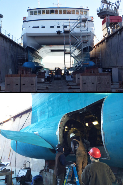 The Western Flyer was hauled out to dry dock at Bay Ship and Yacht in Alameda, California, for maintenance. In the bottom image, you can see one of the access hatches that were cut in the ship's hulls to remove the thruster motors and their housings.