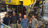 ROV pilots in front of Doc Ricketts, from left, Randy Prickett, Mark Talkovic, Ben Erwin, Knute Brekke, Bryan Schaefer.
