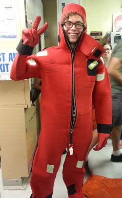 This is my first research cruise, therefore, I was selected to demonstrate how to quickly and properly put on an immersion suit in case an emergency arises aboard the Western Flyer. Safety first!