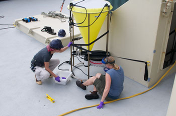 Judit Pungor and Susan von Thun remove sample bottles from one sediment trap on the Sargasso deep-sea observatory. Photo: Debbie Nail Meyer