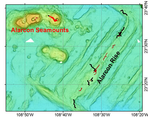 Map of Alarcón Seamounts and Alarcón Rise. The track of today's ROV dive is in red, planned dives for this expedition are in black, and previous dive tracks are brown.