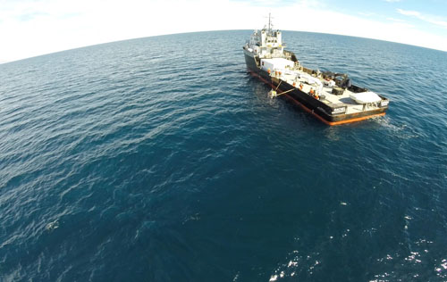 Frame grab of GoPro video taken by drone during bottom pressure recorder (BPR) recovery. Drone owned by CICESE and operated by Alejandro Hinojosa. The BPR is used for accurately measuring seafloor elevation.