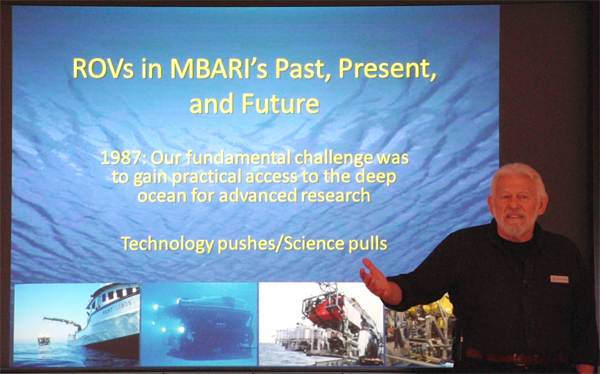 "MBARI Research Chair Bruce Robison gave a presentation to the Board called ""Remotely Operated Vehicles (ROVs) in MBARI's past, present, and future: Connecting the water column to the benthos."""