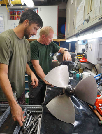 Bryan Touryan-Schaeffer and Knute Brekke made a little tweak to one of the ROV thrusters. The pilots have a workshop on board and are incredibly quick and capable at fixing problems with the vehicle.
