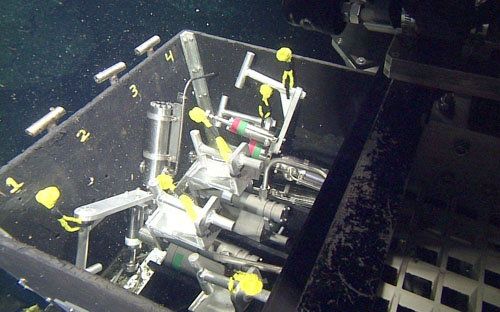 The sample drawer of the ROV Doc Ricketts is filled with hot-water sampling bottles used on this dive.