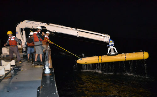 Recovering the AUV at the end of the first mission.
