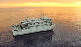 The Western Flyer at sunset in the Gulf of California, March 2015. This photo was taken by a drone flown by Andrew McKee and Ben Erwin.