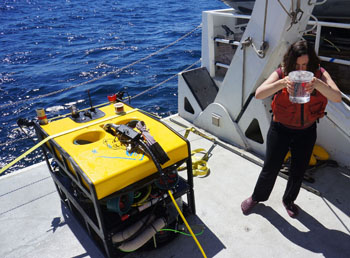 Karen Osborn retrieves the suction bucket from the mini ROV after it is secured on deck. The vehicle's suction sampler has eight buckets for collecting samples.