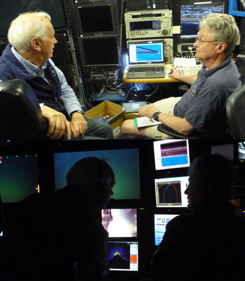 In the top image, Peter (left) and Ed (right) discuss the area to be explored the next morning, using ArcGIS to view and manipulate the maps. Below: During the dive, Peter (at the main science camera controls) and Ed (at the GIS and annotation station) discuss where to direct the pilots to fly the remotely operated vehicle (ROV) next.