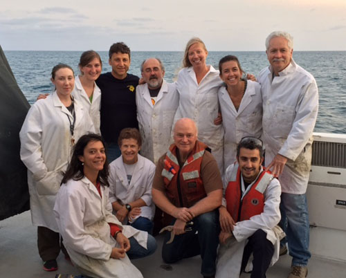 This team of scientists had a successful and productive cruise and you can tell by the smiles on our faces! Clockwise from top left: Katie Maier, Lauren Shumaker, Roberto Gwiazda, Juan Carlos Herguera, Susan von Thun, Eve Lundsten, Charlie Paull, Aaron Micallef, Brian Edwards, Mary McGann, and Vanesa Papiol.
