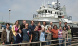 In front of MBARI's research vessel Rachel Carson, this year's interns are (from top left, clockwise) Jennifer Durden, Nathan Reed, William Symons, Corinna Breusing, Cordelia Sanborn-Marsh, Ben Yair Raanan, Laughlin Barker, Jon Steck, Kate Thomas, Lisa Ziccarelli, Ashley Maitland, Katherine Willis, Zena Jensvold, William Truong, Ben Burford, Vanessa Izquierdo Pena, and Jesse Lafian.