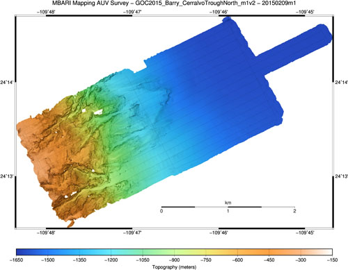 One-meter resolution topography from the first mapping AUV survey, covering the steep slope east of Cerralvo Island from 400 meters to 1,600 meters deep.