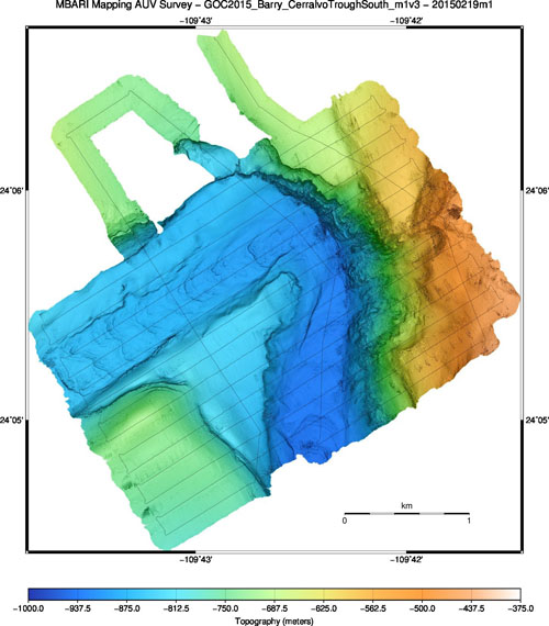 One-meter resolution topography from the second mapping AUV survey. About two-thirds of the planned survey was accomplished before the AUV was snagged.