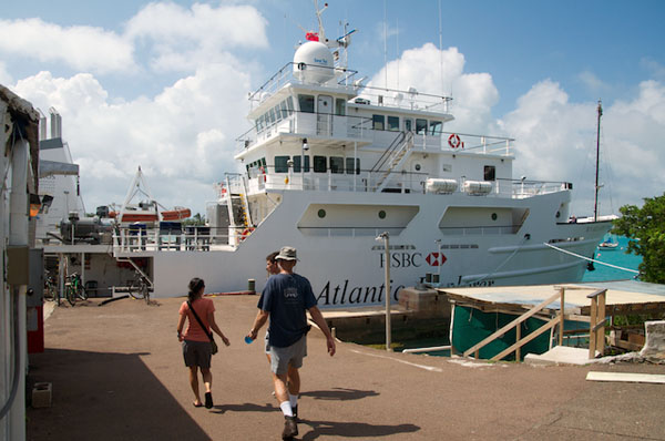 Alana Sherman and Ken Smith tour the R/V Atlantic Explorer at the Bermuda Institute of Ocean Sciences.