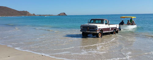 The beach is the boat ramp at Cabo Pulmo.