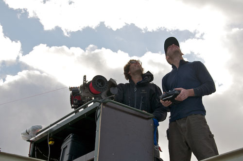 Don Montague and Joe Brock monitor the kite and control the camera systems from the upper aft deck of Lone Ranger.