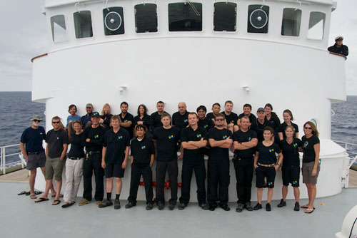Scientists and crew on the Lone Ranger as the ship leaves the Sargasso Sea. This is the final scientific mission for the vessel. Photo: Debbie Nail Meyer