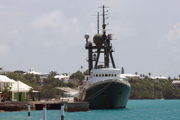 Lone Ranger is dockside now in St. George's Harbor. The ship will remain in Bermuda until Smith and Sherman return in six months to recover the deep-sea observatory and complete their studies of the Sargasso Sea.