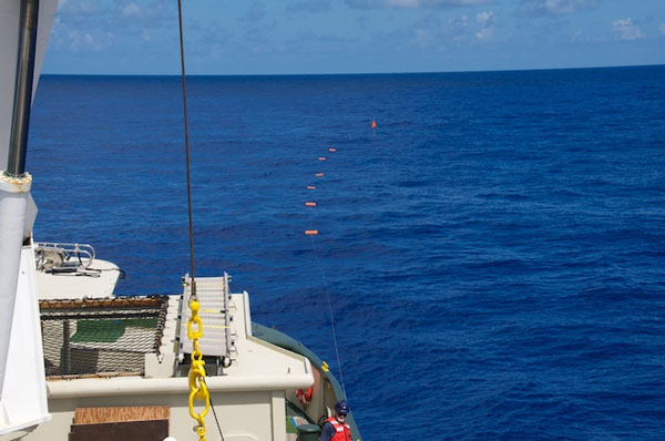 This long line of floats is the upper part of the deep-sea observatory. The floats drifted at the surface as the rest of the observatory was deployed from Lone Ranger. As the last part of the observatory—the camera tripod and anchor—sank into the water, it pulled down the sediment traps and floats to the seafloor 5,400 meters below. The flag of the mast assembly was the last piece to submerge at about 12 minutes after the camera tripod was released.