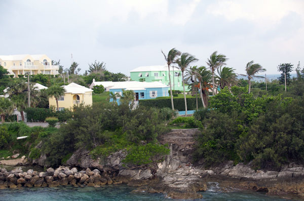 Colorful houses and buildings dot the landscape in Bermuda. Remnants of historic forts from the 1800's can be seen all around the area where Lone Ranger is docked.