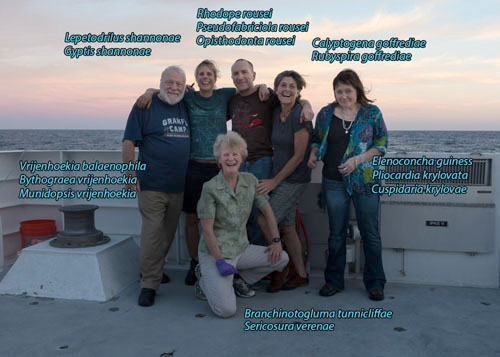 Several of our scientists on this leg have had genus or species named after them for contributions they have made in the field of deep-sea biology. Pictured from left are: Bob Vrijenhoek, Shannon Johnson Williams, Greg Rouse, Shana Goffredi, Elena Krylova, and (in front) Verena Tunicliffe.
