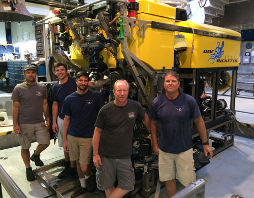 A big thank you to the ROV pilots who worked long hours everyday to make sure that all the scientific objectives got accomplished! From left, Mark Talkovic, Ben Erwin, Bryan Touryan-Schaefer, Knute Brekke, and Randy Prickett.