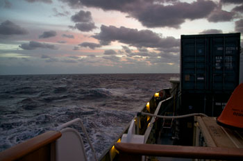 Sunrise on a cold and blustery day as the Lone Ranger nears the Bahamas. Photo: Debbie Nail Meyer