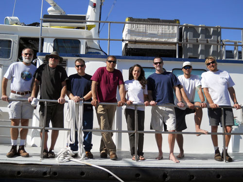 The AUV team and Zephyr crew. From left: Dave Caress, Perry Shoemake, Jim Boedecker, Hans Thomas, Mexican collaborator Beatriz Eugenia Mejia Mercado (a graduate student from CICESE), Doug Conlin, Paul Ban, and Aaron Gregg.