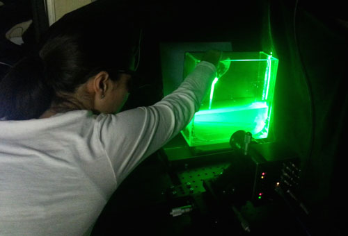 Kakani Katija has also been using lasers, cameras, and special imaging software in the lab on the ship to make detailed measurements of the body morphology and fluid flow around midwater organisms, such as tomopterid worms, larvaceans, and a variety of jellies.