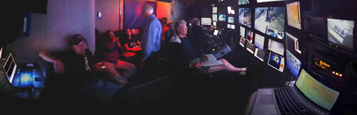 This panorama shows a typical scene in the control room. From left to right: Peter Walz, Xin Zhang, Victoria Orphan, Peter Brewer, Marko Talkovic, Ed Peltzer, Knute Brekke. Note: Peter Walz cheered up later in the day.