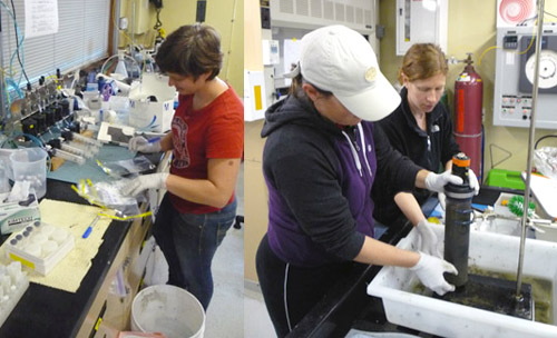 All of those push cores mean lots of work for Victoria Orphan's lab. They slice the cores and process them for pore water and isotopic analysis. They also do molecular analysis on the microbes in the samples. Left: Kat Dawson labels whirl packs in anticipation of the sample deluge. Right: Victoria and Ally Pasulka extrude the sediment from a push core.