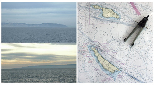 Top left: Santa Catalina off the port bow. Bottom left: And San Clemente off the starboard. Right: Nautical chart showing the Outer Santa Barbara Passage through the Channel Islands. The right point of the compass indicates the location of today's sampling station.