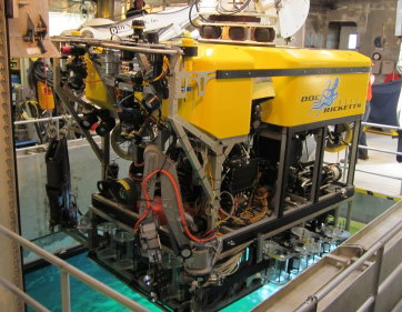The remotely operated vehicle (ROV) Doc Ricketts is ready to launch.