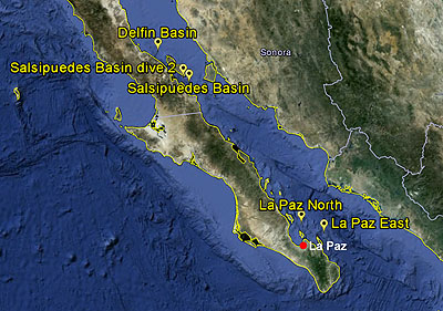 Seafloor biology research sites.