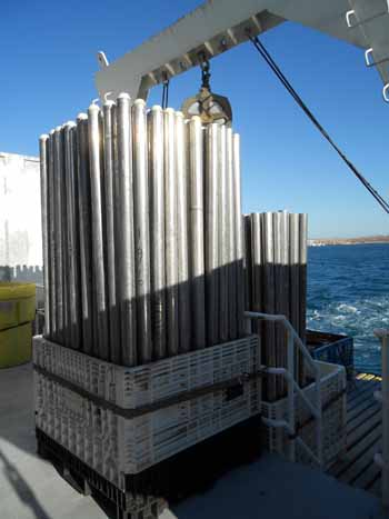 Cores on deck: 140 empty vibracore tubes are secured to the aft deck. The tubes are numbered serially from the time the vibracores were first used with the system.