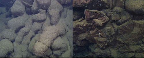 Left: Elongate pillows, which are long skinny tubes of solidified lava that generally form when lava flows downslope. Right: Truncated pillows, which are pillows that have been cut (or truncated) by tectonic movements of the seafloor. Note the radial pattern of the truncated pillows; this pattern forms as the lava is cooling.