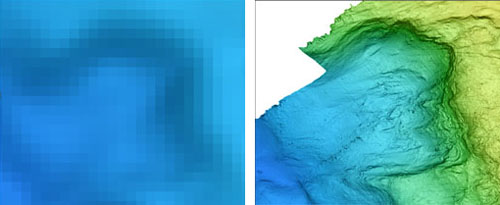 The blurry image at the left is all that could be seen of a pit in the seafloor in maps previously created with sonar mounted on surface ships. The image at right shows the exact same area at the same size, created with data collected with MBARI's mapping AUV yesterday. Note all the details not previously visible. At its widest spot, this pit is about one kilometer (3,280 feet) across.
