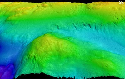 Perspective view from the west of Hydrate Ridge off Oregon, where methane hydrates have been found Image © 2001 MBARI