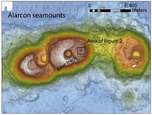 Figure 1: Alarcón seamounts showing today's dive track on the middle seamount, starting in a smaller crater (see below) and ending on the rim of a large caldera.
