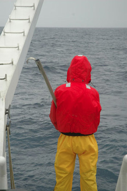 Chris Wahl waits in the rain for the CTD to return to the surface.