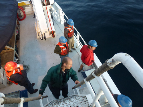 The efforts of many MBARI employees come together to make these missions successful. Pictured: Lance Wardle, Jason Jordan, Shaun Summer, Andrew McKee, and Mark Talkovic.