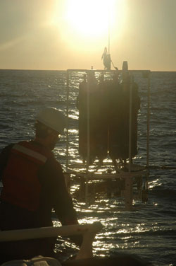 Erich Rienecker pulls in the day's first CTD cast just after sunrise