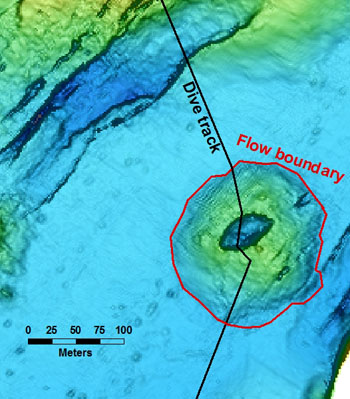 The map shows a possible flow boundary located on the AUV map. With the remotely operated vehicle (ROV) we could see that the lobate pillows of the small cone lie on top of the large sheet flow.