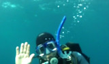 George Matsumoto waves from 25 meters (82 feet) down. Image captured from video shot by Steve Haddock.