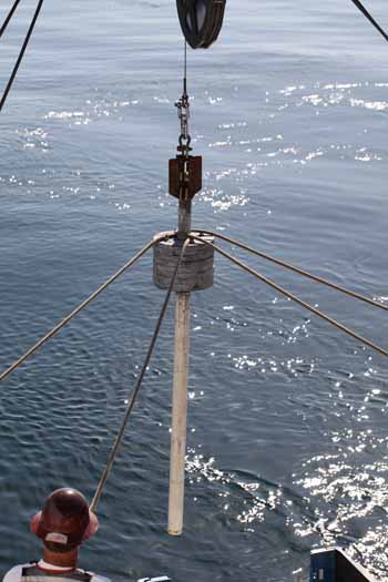 The gravity corer ready to launch.
