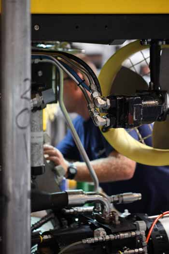 The view into the ROV of Randy working.