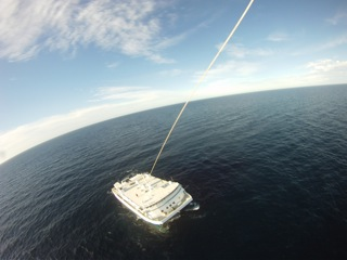 The R/V Western Flyer seen from Steve Haddock's kite camera.