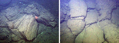 Two frame grabs from the ROV video camera as we explored around a seamount covered in pillow lava and fields of basalt rubble.